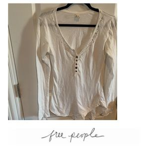 Free People White Button Henley Top